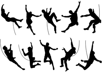 Silhouette Of Wall Climbers - vector gratuit #398349