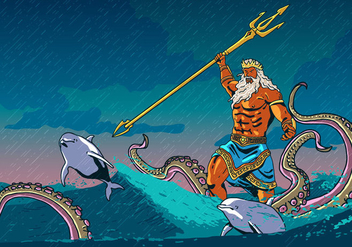 Poseidon With Animal Of The Sea - Free vector #398609