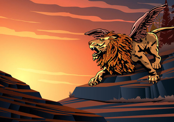 Winged Lion Screaming - vector gratuit #398659