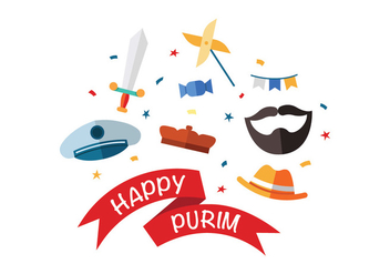 Happy Purim Vector Icons - vector gratuit #398669