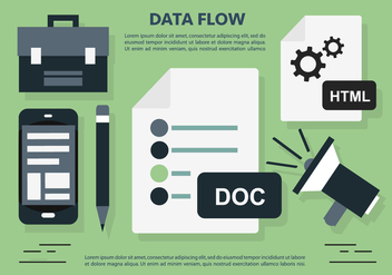 Data Flow Office Workplace Vector Illustration - Kostenloses vector #398709