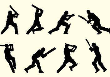 Silhouette Of Cricket Players - vector gratuit #398779