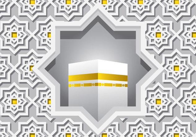 Decorative White Ka'bah Vector - vector gratuit #398809
