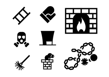 Chimney and Heating Coal Icons set - vector gratuit #398819