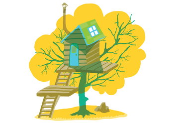 Summer Tree House Vector Illustration - бесплатный vector #398919