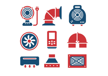 Air conditioning and air compressor vector icons - Free vector #398989
