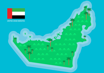 Green UAE Map Vector - Kostenloses vector #399029