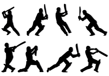 Silhouette Of Cricket Players - Free vector #399089
