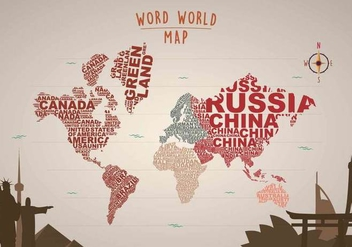 Free Word Map Illustration with Landmarks - Kostenloses vector #399109