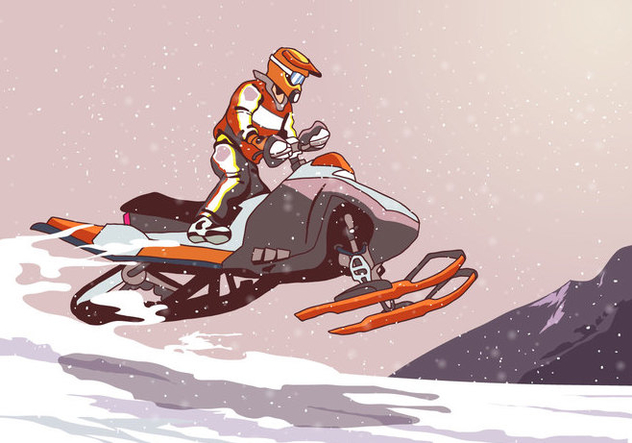 Snowmobile Jumping - Free vector #399139