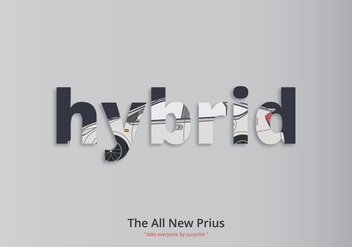 Prius Typography Illustration - бесплатный vector #399189