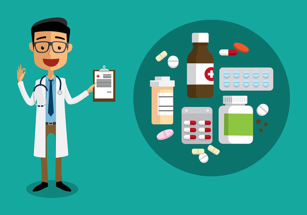 Doctor with Prescription Pad Flat Vector - бесплатный vector #399229