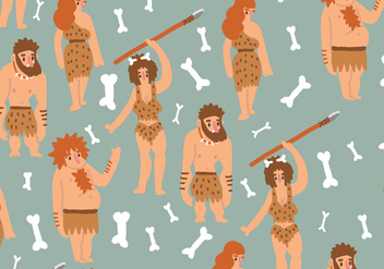 Ice Age Humans Pattern - бесплатный vector #399269