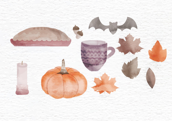 Vector Fall Watercolor Elements - vector gratuit #399279