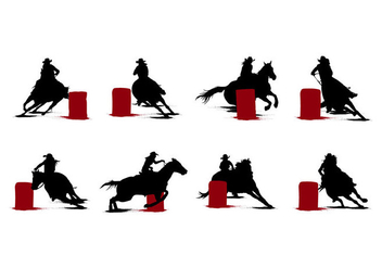 Free Barrel Racing Silhouettes Vector - бесплатный vector #399649