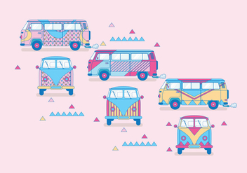 Hippie Bus Vector - Free vector #399659