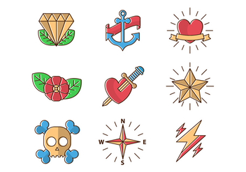Free Old School Tattoos Vector - vector #399679 gratis