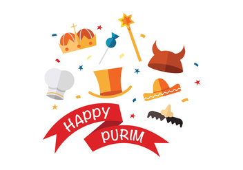 Happy purim vector icons - vector #399759 gratis