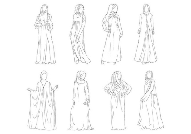 Free Abaya Fashion Vector - Free vector #399829