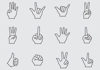 Free Hand Gesture Icons Vector - vector gratuit #399919