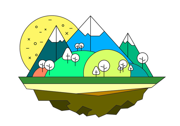 Landscape Island Vector Illustration - Kostenloses vector #399929