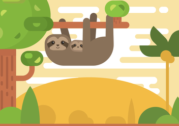 Free Cartoon Sloth on The Tree Vector - vector gratuit #399949
