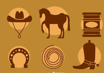Barrel Racing Element Icons Vector - Free vector #400279