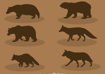 Forest Animal Silhouette Vector Set - Free vector #400339