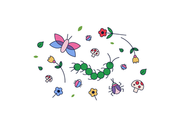 Flowers and Bugs Vector - Free vector #400439