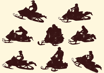 Snowmobiling Silhouette - Free vector #400589