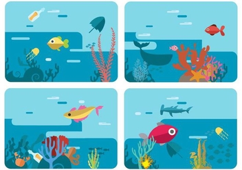 Free Sea Life Underwater World Vector Illustration - Free vector #400649