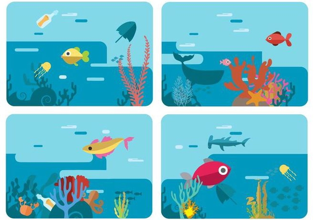 Free Sea Life Underwater World Vector Illustration - Kostenloses vector #400649