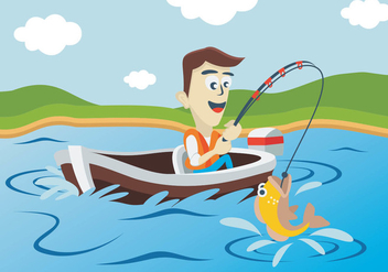 Fisherman Fishing In Lake - Free vector #400669