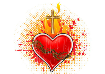 Sacred heart vector illustration - vector gratuit #400699