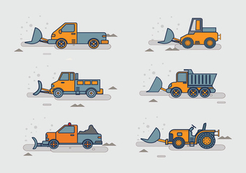 Snow plow tracktor pack stock vector - бесплатный vector #400739