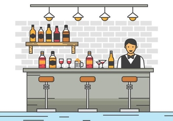 Free Barman Server at the Bar Vector Illustration - vector gratuit #400749