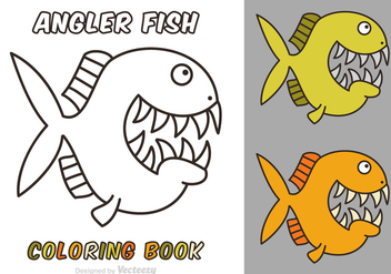 Free Cartoon Angler Fish Vector Coloring Book - Free vector #400819