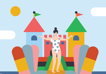 Girl with her Bounce House - vector gratuit #400949