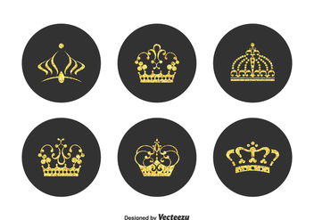 Free Golden Crown Pageant Vector Set - Kostenloses vector #401049