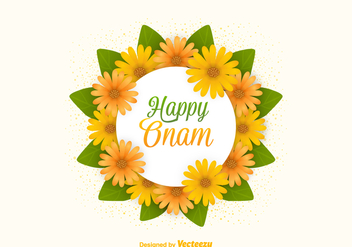 Free Vector Happy Onam Flowers Card - vector gratuit #401149