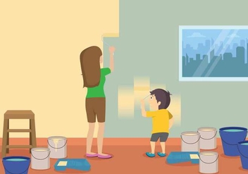 Free Mom And Child Painting Illustration - бесплатный vector #401169