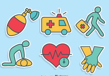 Hand Drawn First Aid Icons Vector Set - Free vector #401279