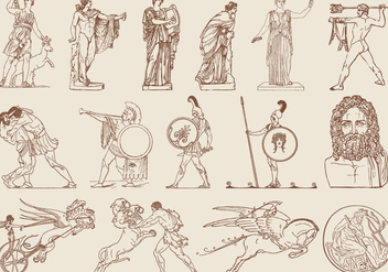 Brown Greek Art Illustrations - бесплатный vector #401299