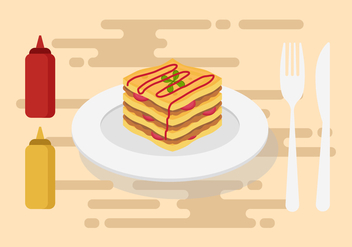 Free Lasagna Vector Illustration - бесплатный vector #401359