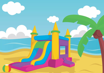 Illustration Of Bouncy Castle On Beach - vector gratuit #401439