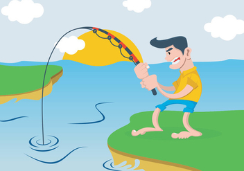 A Man Fishing In The River - Free vector #401499