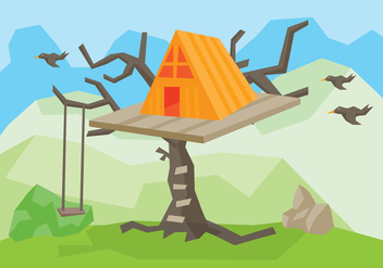 Tree House Vector Illustration - Free vector #401599