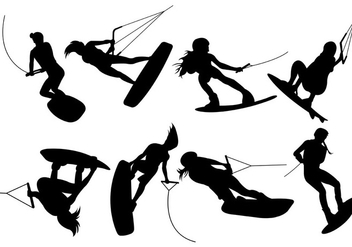 Silhouettes Of Wakeboarding Vectors - бесплатный vector #401609