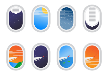 Free Set of Plane Window View Vector - бесплатный vector #401719