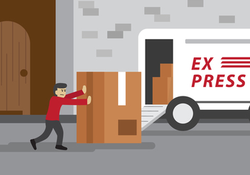 Delivery Man Pushing Package Vector - бесплатный vector #401749